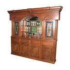 MBW Furniture - 9.5Ft Solid Mahogany Home Pub Bar Back w/ Lead Glazed Stained Glass - This is a gorgeous 9.5ft solid mahogany home pub bar back. It has a beautiful shaped cornice adorned with elegant protruding accents and fancy fretwork and it features a gorgeous large scalloped and beveled mirror on the center that has 3 shelves, 2 of glass removable, a scalloped top that has lead glazed *astragal stained glass that can be lighted up with the use of its internal light sockets (the ac cord may need an ac plug to work), 2 cabinets on the sides that also have light sockets and they have a total of 6 shelves, 4 of glass removable, 2 exquisite lead glazed astragal stained glass doors, 4 conventional turned columns, decorative scroll & foliage accents, 4 smooth operating drawers with dovetail joinery that have antiqued metal handles and 3 spacious cabinets on the bottom that have a total of 6 shelves, 3 removable, and they have distinguished paneled doors with very attractive oval designs and beveled frames with floral carvings. From its overall beauty to quality build this extravagant piece of furniture will not only enrich your current home decor with its opulence but it will also provide you a lifetime worth of luxury and pleasure.
