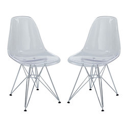 Modway - Modway EEI-1261 Paris Dining Side Chair Set of 2 in Clear - These molded plastic chairs are both flexible and comfortable, with an exciting variety of base options. Suitable for indoors or out, appropriate for the living and dinning room, these versatile chairs are a great addition to any home d�cor statement.