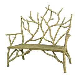 Currey & Co - Currey & Co 2009 Elwynn Faux Bois Small Bench - Are you looking for a rustic bench that will add just the right touch to any lanai or patio? The Currey & Co 2009 Elwynn Faux Bois Small Bench is the perfect accent bench for your home. This bench is designed with quality in mind and can be used for seating while you are entertaining. When the bench is not in use, it makes a beautiful piece to look at and admire. This bench is made from concrete and steel to provide a durable hold. The finish is a Faux Bois, which is neutral enough to fit in with even the pickiest decor.