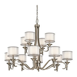 KICHLER - KICHLER 42383AP Lacey Transitional Chandelier - This 12 light, 2 tier chandelier from the Lacey Collection offers a beautiful contrast, melding the charm of Olde World style with clean modern-day materials. It starts with our Antique Pewter Finish and bold, unadorned rounded-arm styling. It finishes with avant-garde double shades made of decorative mesh screens and Opal inner glass.