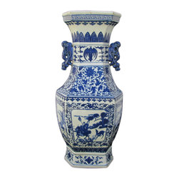 Golden Lotus - Chinese Blue & White Porcelain Hexagon Riding Horse Scenery Vase - This is a traditional Chinese decoration vase in blue & white color with detail combination of oriental flower pattern and riding horse scenery.