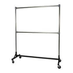 Z Racks - Double Rail H-Rack Garment Rack w 72 in. Upri - Black H-base Only. 500 lb. capacity. 14 gauge steel base (Environmentally safe powder coated finish). 16 gauge upright bars and double hang rails. 1 5/16 outside diameter upright bars and double hang rails. Grey non-marking soft rubber with TP center 4 in. casters . Made in the USA. 63 in. L x 23 in. W x 79 in. HThis H-Rack is designed to hold up to 500 lbs of apparel, while maximizing all five feet of length. And because the two rows are placed on top of each other, the rack will not tip under a heavy load. The second hang rail can be placed anywhere along the uprights.