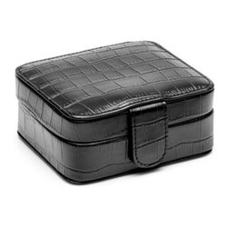 Black Croc Compartment Travel Case - Diplomats, entrepreneurs, even secret agents – none would dash off to an exotic port of call without a Black Croc Compartment Travel Case. This smart traveling companion securely holds cufflinks, shirt studs, rings, and more. Easy and stylish to travel with, this case features a black, crocodile embossed pattern with velvet lining, four storage compartments, and a secure snap closure.