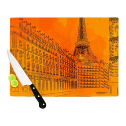 """Kess InHouse - Fotios Pavlopoulos """"Parisian Sunsets"""" Orange City Cutting Board (11"""" x 7.5"""") - These sturdy tempered glass cutting boards will make everything you chop look like a Dutch painting. Perfect the art of cooking with your KESS InHouse unique art cutting board. Go for patterns or painted, either way this non-skid, dishwasher safe cutting board is perfect for preparing any artistic dinner or serving. Cut, chop, serve or frame, all of these unique cutting boards are gorgeous."""