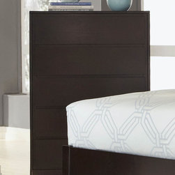 "Coaster - Hudson Chest - Subtly sophisticated with a contemporary feel, this espresso finish collection offers straight lines and clean edges to create an eye-catching bedroom centerpiece. The headboard comes in dark brown vinyl padding for supreme comfort. The timeless design of the Hudson bedroom collection makes this set a simple choice. Collection: Hudson; Style: Contemporary; Finish/Color: Espresso Finish; Dove tail drawers; Center metal glides; Dimensions: 33.75""L x 15.75""W x 46.25""H"