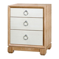 Bungalow 5 - Bungalow 5 Calvin 3-Drawer Side Table - Natural - Cerused Oak And Veneers: NaturalGrasscloth Drawer Fronts: Silver Ring PullsWe are constantly updating our designs and finishes. If you are seeking to match a piece you ordered a while ago, first confirm the dimensions have not changed, then provide us with a lot number which can be found on the piece itself.