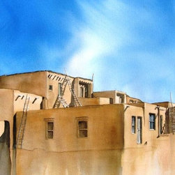 """Acoma Pueblo - Original Watercolor Painting - The pueblo of Acoma west of Albuquerque, also known as """"Sky City"""" is one of the longest inhabited locations in the US."""