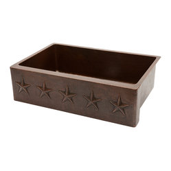 "Premier Copper Products - 33"" Copper Kitchen Apron Sink w/ Star Design - 33"" Hammered Copper Kitchen Star Apron Single Basin Sink"