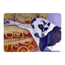 Caroline's Treasures - Harlequin Natural Great Dane Kitchen Or Bath Mat 24X36 - Kitchen or Bath COMFORT FLOOR MAT This mat is 24 inch by 36 inch.  Comfort Mat / Carpet / Rug that is Made and Printed in the USA. A foam cushion is attached to the bottom of the mat for comfort when standing. The mat has been permenantly dyed for moderate traffic. Durable and fade resistant. The back of the mat is rubber backed to keep the mat from slipping on a smooth floor. Use pressure and water from garden hose or power washer to clean the mat.  Vacuuming only with the hard wood floor setting, as to not pull up the knap of the felt.   Avoid soap or cleaner that produces suds when cleaning.  It will be difficult to get the suds out of the mat.