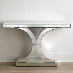 "Horchow - Splendora Mirrored Console - Mirrored console with double ""C"" base brings reflected glamour to hallways, entryways, or living spaces. Handcrafted of wood composite, mirrored glass, and mirrored laminate. 47""W x 13.5""D x 31""T. Imported. Boxed weight, approximately 168 lbs. Ple..."