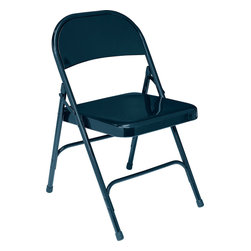 National Public Seating - National Public Seating 50 Series Standard All-Steel Folding Chair in Blue - This is National Public Seating's standard all-steel folding chair featuring a 19 gauge 7/8 inch round tubular frame with a 2 1/2 inch frame strengthener on each side of the seat. Two U-shaped double riveted cross braces ensure strength and durability. The introduction of a chair truck makes these chair extremely portable.