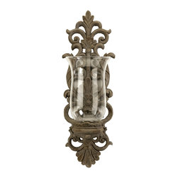 Vintage French  Wall Sconce with Glass Hurricane Candleholder - *An intricate floral pattern in cast iron holds a glass hurricane, letting soft candlelight permeate the room.