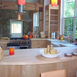 WR Woodworking - Maple Edge grain wood counter tops - maple kitchen counter top with farmers sink.  wrwoodworking.com