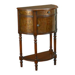 Hammary - Hammary T73711-00 Hidden Treasures Demilune Accent Table with Door Drawer - The Hidden Treasures collection is a fabulous assortment of one-of-a-kind accent pieces inspired by the greatest furniture designs from around the world. Each selection is a true treasure - rich in Old World icons and traditions. All the pieces in this collection are crafted with attention to every detail. From brass nailhead trim and exquisite hand-painting to elegant shaping and decorative trim, every item is a unique work of art. A wide variety of materials is used to create the perfect look and finest quality - from exotic woods, leather and stone to raffia and glass. The huge selection of finishes, hardware, exceptional carvings and other final touches offer unsurpassed versatility for any room in the home. Hidden Treasures includes cocktail tables, occasional and accent pieces, trunks, chests, consoles, wine racks, desks, entertainment units and interesting storage pieces. Place one in a comfortable reading nook... in the family room for flair and variety... in the foyer for a welcome look... in a bedroom for cozy style... or in the office for function and versatility. The pieces in this collection mix beautifully with any decorating style and will easily become the focal point in any setting.