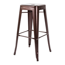 #N/A - Agnete Bar Stool - Agnete Bar Stool. The Agnete Bar stool is constructed of cold rolled steel and powder coated in a rich rustic coffee color.
