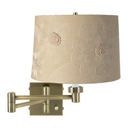 Lamps Plus - Tan Flower Shade Antique Brass Plug-In Swing Arm Wall Light - Topped with a tan shade featuring decorative white flowers, this swing arm wall light is finished in antique bronze. This antique brass finish swing arm wall light is topped with a stylish tan drum shade featuring embroidered white flowers, creating an attractive and functional way to add light to your bedside or favorite seating area. It�s dimmable, too, so you get just the right amount of light. Plug-in design means installation is easy . just attach the lamp to the wall and plug into any standard outlet using the provided cord.