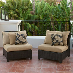 RST Brands - RST Outdoor Delano Armless Chair - Set of 2 Multicolor - OP-PEAC2-DEL-K - Shop for Chairs and Sofas from Hayneedle.com! Enjoy outdoor company in style and comfort with the RST Outdoor Delano Armless Chair - Set of 2 an outdoor seating set that's constructed with hand woven rich espresso colored polyethylene wicker. Made of 100% recycleable materials the set's PE wicker is cool to the touch and retains its deep luster no matter how long it has been exposed the harsh rays of the sun. The framework is made of textured bronze color powder-coated aluminum and crafted to withstand the most extreme weather conditions. It's also engineered to withstand sea-salt and chlorinated environments.This model includes two 35 inch armless sections created to extend the effective seating area of RST Outdoor seating sets allowing you to expand your seating area to include additional family members and friends. Components are 31 inches deep from front to back; seating area is 24 inches deep.SolarFast outdoor fabric is engineered to be long lasting fade-resistant and durable. It also allows the fabric to retain color and vibrancy and is designed to be fast drying to avoid mildewing. The set is easy to clean with mild soap and water.About Red Star TradersSince 2004 Red Star Traders LLC (made up of RST Outdoor RST Living and FlowWall System) has designed and manufactured products in the outdoor living home decor and wall-based organizational products categories. Red Star is a direct import product marketing company. Red Star categories of focus include jewelry boxes men's gifts & furnishings and RTA furniture. Their team of marketing and design professionals can help identify market trends and deliver products that meet target retails with maximum perceived value. Red Star's network of manufacturing partners and overseas production managers insure integrity in production and strict quality control.