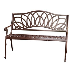 Great Deal Furniture - Brockway Cast Aluminum Garden Bench - The Brockway bench is a great looking outdoor bench made of Cast Aluminum to last forever.  Finished in brown look with intricate detail in the design. Strong base, very sturdy and comfortable.