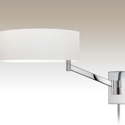 Sonneman A Way Of Light - Perch Swing Arm Wall Light - Perch Swing Arm Wall Lamp features a White cotton shade with finish in Polished Chrome, Satin Nickel or Coffee Bronze. ��One 150 watt 120 volt A19 incandescent lamp not included. ��14 inches wide x 13 inches high x 21.5 inches deep. ��Shade is 5 inches high x 14 inch diameter. ��Includes two 12 inch cord covers. ��On-off turn switch.