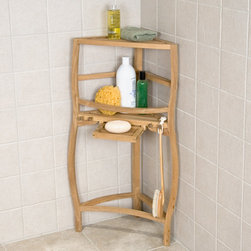 Freestanding Teak Curved Corner Shower Shelf with Pull Out Soap Dish - Great for walk-in showers or as a bathroom shelf outside the shower, this freestanding corner shower shelf is made of teak wood. Left unsealed, it can be easily finished if desired.