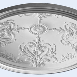 """Inviting Home - California Ceiling Dome - California decorative ceiling dome ceiling dome dimensions: outside diameter - 45-3/4"""" inside diameter - 39-1/2"""" outside depth - 9-1/4"""" inside depth - 8-3/8"""" California ceiling dome has an elaborate design that is molded in a deep relief. Design of this ceiling dome features a beautiful flower motif with intricate leaf scrolls and petals motif radiant center. California ceiling dome has a classical clean lines rim. This ceiling dome comes factory primed and is suitable for painting glazing or faux finish. Like all of our ceiling domes California ceiling dome is light weight and very easy to install. This ceiling dome is a single piece constructed ceiling dome. Ceiling dome can be used with lighting fixture or without. If you decided to use the ceiling dome with lighting fixture you can easily drill or cut center hole with a pen-knife to any dimension. *Note: All measurements of ceiling domes are approximate. Please refrain from cutting holes for these domes until you receive the actual dome for exact measurements."""