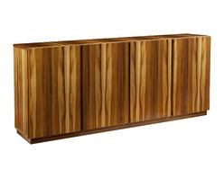 John Richard - John Richard Zebra Wood Credenza EUR-04-0205 - The natural beauty of the veneer, smoked gresard, gives this credenza a clean modern line. The interior is veneered in maple and the internal bevel of the doors act as a handle.