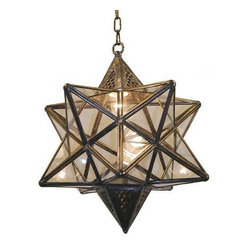 Wunderley Brass and Glass Star Lantern