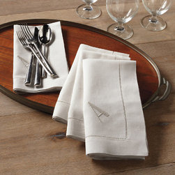 Grandin Road - Set of Four Monogrammed Linen Napkins - Set of four linen dinner napkins with FREE monogram. Expertly sewn from 100% linen. Add your single-letter monogram at no additional cost. Perfect your entertaining repertoire, or give a gift with a personalized touch using our Set of Four Monogrammed Linen Dinner Napkins, with FREE personalization. Indulge your guests in the elegance of linen, complete with your single initial, so friends and family will never forget who hosts the most stylish affairs.  .  .  . Imported. Please note, personalized items are nonreturnable.