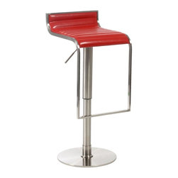 Euro Style - Forest Adjustable Leather Barstool - Streamlined and modern with a sleek, urban design, this eye catching leather bar stool will be a spirited addition to your home's decor. Upholstered in stitched leather in your choice of colors, the stool's seat flows into a tubular steel footrest for added visual interest. Stitched Leather seat. Adjustable to bar or counter height. Red Leather seat, chrome frame and footrest; satin nickel base. Gas lift and swivel. Made of Leather/Satin Nickel. Warranty: 1 year. Tools for Assembly Included. Some Assembly Required. 14 in. W x 16 in. D x 24-34 in. H (37 lbs.)