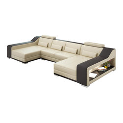 Scene Furniture - Sydney Double Chaise, Beige W Brown Trim - This brand new introduction has immediately become a best seller due to its ultra modern look, unique design and massively comfortable double chaise layout. Additionally, this cool leather sectional includes wide shelving space on both sides so you can easily keep your living room without clutter. Another Scene Furniture exclusive.