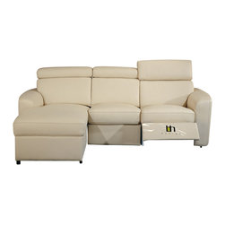 Beverly Hills Furniture - Mica Left Facing Sectional (Beige) - Color: BeigeButtery soft top grain leather . Single Leggett and Platt recliner with chaise end. Three multi-stage motion headrest. Reinforced corner blocks for added strength. Interwoven webbed base with sinuous spring suspension. Pocket coil core with high density foam seating. Molded high density foam back and headrest. Contemporary design without compromising comfort. 59 in. W x 91 in. L x 31 in. HWrapped in soft leather and filled with high density foam, the Mica motion sectional offers contemporary lines without sacrificing comfort.  Its frame is built with kiln-dried solid wood and reinforced with corner blocks to ensure years of comfortable seating.