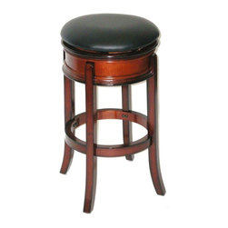 Boraam - Hardwood Backless Swivel Bar Stool w Padded U - Fire retardant rated. Steel ball bearing swivel. Full ring stretcher. Durable and Easy to clean Black PVC upholstery. Foam seat. Made from Solid hardwood. Maximum Weight Capacity: 250 LBS. Not suitable for commercial use. Seat Diameter: 17 in.. Overall: 18 in. W x 18 in. D x 29 in. H