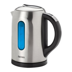 AROMA HOUSEWARES COMPANY - Gourmet Series 6-Cup Digital - The Aroma Gourmet 6-Cup Digital Electric Kettle features advanced digital settings to heat water to exactly the temperature that's needed. 4 specifically chosen temperature settings provide the perfect heat for favorite teas and other hot beverages. The Aroma Gourmet Digital Kettle also features a Keep-Warm setting that will maintain the temperature for up to 20 minutes - perfect for serving! Water temperature is easy to monitor as the IntelliTemp display provides real-time temperature readings and Spectrum Illumination provides an easy-to-see colored light change representing each temperature level. Once water reaches the ideal temperature, the kettle lifts off its base for cordless 360��ree; pouring. The beautiful brushed stainless steel finish looks great in any kitchen. When the serving is done, the cord conveniently stores in the base for easy storage.