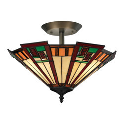 Elk Lighting - Elk Lighting 70116-3 Oak Bridge Semi Flush with Tiffany Bronze - Striking Lines And Rich Colors Boldly Characterize The Oak Bridge Collection.  Tiffany Bronze Finished Hardware Support Alternating Lengths Of Tiffany Panels That Start As Cream At The Bottom And Flare Outward Into A Colorful Band Of Rectangular Glass Pieces.