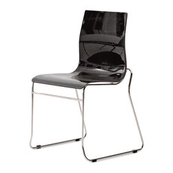 Domitalia - Gel-T Stackable Dining Chair, Black (Set of 2) - -Stacking Chair
