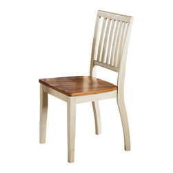"Steve Silver - Steve Silver Candice Side Chair in Oak and White (Set of 2) - The Candice Collection offers country-style simplicity, transforming any dining area into a charming sanctuary. The two-toned white and oak Candice side chair features a high back with vertical slats and a shaped wooden seat for comfort.  The chair measures 18""W x 22""D x 36""H.  What's included: Side Chair (can only be purchased in sets of 2)."