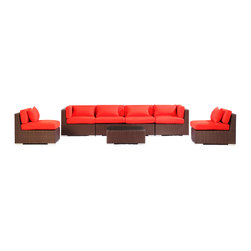 """Kardiel - Modify-It Patio Furniture Modern Outdoor Sofa Sectional Waikiki 7pc Wicker, Red - Unapologetic modern seating for six is offered by the Waikiki 7-piece collection. The centerpiece is clearly the Grande' length modern 4 seat sofa. Masterfully accommodates multiple guests. Extend the limits of personal lounging time, just you and a good tablet. 2 armless chairs and tempered glass top coffee table complete the collection. The flexible nature of Modify-It modular allows for customized reconfiguring of the layout at will. The design origins are Clean European. The elements of comfort are inspired by the relaxed style of the Hawaiian Islands. The Aloha series comes in many configurations, but all feature a minimalist frame and thick, ample modern cube cushions. The back cushions are consistent in shape, not tapered in to create the lean back angle. Rather the frame itself is specifically """"lean tapered"""" allowing for a full cushion, thus a more comfortable lounging experience. The cushion stitch style utilizes smooth and clean hand tailoring, without extruding edge piping. The generously proportioned frame is hand-woven of colorfast, PE Resin wicker. The fabric is Season-Smart 100% Outdoor Polyester and resists mildew, fading and staining. The ability to modify configurations may tempt you to move the pieces around... a lot. No worries, Modify-It is manufactured with a strong but lightweight, rust proof Aluminum frame for easy handling."""