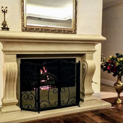 Monterey Cast Stone Fireplace Mantel - The Monterey always lets its presence be known in any room it resides. This classic Italian design works with most  decors and definitely leaves an impression. Cast for mtabuenca in Desert with a medium texture. See reviews.