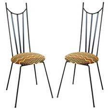 Eclectic Chairs Pair of Mid Century Steel Chairs