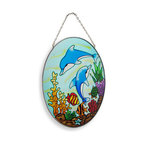 Zeckos - Dolphins Playing Under the Sea Oval Glass Suncatcher 9 In. - This colorful sun catcher adds a pretty accent to any window, featuring an underwater scene with dolphins, coral, seaweed, and fish. The coral and seaweed have a crystallized texture, adding some depth to the piece. The sun catcher measures 9 inches tall, 7 inches wide, and has a 2 inch drop from the chrome chain hanger. It makes a great gift for friends and family that is sure to be admired.