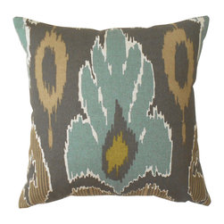 Teal And Brown Ikat Decorative Pillow Cover - One decorative pillow cover made to fit a size 18x18 insert. Ikat design includes teal, brown, gray, tan and green. Made with centered pattern placement on the front side with a coordinating solid tan backing and a concealed bottom zipper. Pillow insert is not included.