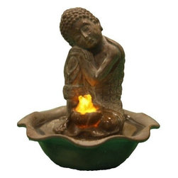 "Welland - Welland Water Figurine Resting Sitting Buddha Fountain - The ""Resting Buddha"" tabletop fountain is made of a durable and lightweight poly-resin but has a ceramic look finish. Includes a pump and an LED light illuminating the water flow. This fountain brings a calming presence and is ideal for both indoor and outdoor decoration."