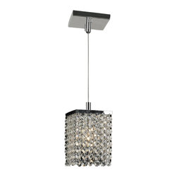 """Worldwide Lighting - Prism 1-Light Chrome Finish and Crystal Mini Pendant 5"""" Square x 8.5"""" H, Clear - This stunning 1-light Crystal Mini Pendant only uses the best quality material and workmanship ensuring a beautiful heirloom quality piece. Featuring a radiant chrome finish and finely cut premium grade clear crystals with a lead content of 30%, this elegant pendant will give any room sparkle and glamour. Worldwide Lighting Corporation is a privately owned manufacturer of high quality crystal chandeliers, pendants, surface mounts, sconces and custom decorative lighting products for the residential, hospitality and commercial building markets. Our high quality crystals meet all standards of perfection, possessing lead oxide of 30% that is above industry standards and can be seen in prestigious homes, hotels, restaurants, casinos, and churches across the country. Our mission is to enhance your lighting needs with exceptional quality fixtures at a reasonable price."""