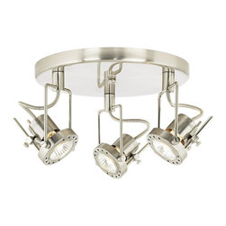 """ProTrack - Contemporary Pro Track® 150 Watt Three Light Ceiling Light - This stylish Pro Track ceiling light provides instant glamour and visual appeal. A great look for kitchen or office lighting. The three bullet lights can be used to brighten work areas illuminate room or architectural details and more. Canopy and accents come in a sleek satin nickel finish. Includes three 50 watt GU10 halogen bulbs. 11"""" wide. Extends 9"""" from ceiling.  Satin nickel finish.  Adjustable light heads.  Includes three 50 watt GU10 halogen bulbs.   11"""" wide.   Extends 9"""" from ceiling."""