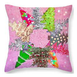 Suzanne Powers - Pink Christmas Tree Wreath Pillow - Decorated Christmas trees make up a fantasy wreath with a sparkly pink background.  Throw pillows are made from 100% polyester fabric.   Each pillow is printed on both sides (same image).  Spot clean.  Price includes shipping.