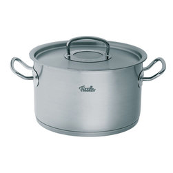 """Fissler - Original Pro Collection Stew Pot, 11"""", 10.3L - Originally developed by professionals for professionals, the Original Pro Collection is the perfect cooking equipment for everyone who values uncompromising quality, attractive design, and superior functions. It is a design classic and international best-seller made from heavy gauge, hygienic 18/10 stainless steel and its beautiful brushed stainless steel finish provides the ultimate resistance to water spots, staining, and scratching. Professional cooks from around the world have been using this cookware for over 30 years, and even Nigella Lawson finds its looks and durability help her to be a """"Domestic Goddess"""". The fully encapsulated CookStar all-stove base, which is comprised of a pure aluminum core and high-quality 18/10 stainless steel, ensures that the base that will never separate or warp. The energy-saving base also provides quick optimal heat distribution, diffusion, and storage without any hot spots. Safe for induction stoves. The Original Pro Collection is equipped with true stay-cool handles that are large for easy handling, and fastened using high-strength welding, permitting a hygienic stainless steel interior free of rivets which collect food and particles. Now you can have the look of riveted handles without the mess. The long stay-cool handles are light and comfortable to hold. All the handles are fixed to stay on for a lifetime. The cleverly designed lids are tight fitting, making it ideal to not only cook with little or no water but to ensure that all the flavour of the food gets sealed in. They offer the innovative condensate-plus function. condensation drips right onto the food from the center of the lid, making it tastier and juicier. In addition, ice cubes can be placed on the center of the lid to accelerate the condensation process. Each piece is fully oven-safe and dishwasher-safe, providing an added measure of versatility in the kitchen. The pouring rim on all the cookware allows for"""