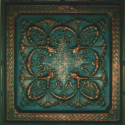 """Crown Tin Wall Plaque - 24""""x24"""" - This medium size plaque adds visual strength and drama to your walls decor. Sold individually, they are lovely hanging alone they but also work well for large spaces when grouped in differing patterns or finishes. Inspired by the artistic look of old-fashioned tin ceiling tiles, these pressed tin plaques are sure to be a focal point wherever they're displayed. Each plaque is crafted of real tin, and finished in your choice form a variety of available finishes. Use alone or in a gang of 4 for larger spaces."""