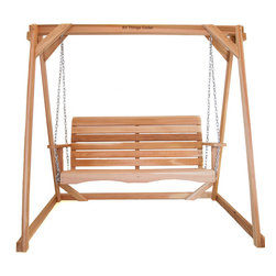 All Things Cedar - All Things Cedar AF90-S 5ft. Porch Swing w/ A-Frame Set - This set includes our comfy PS60U Porch Swing and a solid 8ft A-Frame to mount it on. Mounting hardware and chain all included - load weight approx.600 lbs    Dimensions:   (92 x 48 x 68)(66 x 23 x 24) in. (w x d x h)