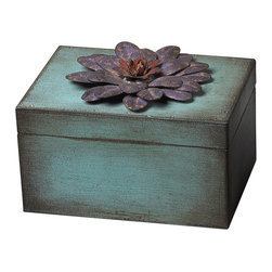 Sterling - Sterling 129-1015 Wooden / Metal Flower Keep Sake Box  Purple - Sterling 129-1015 Wooden / Metal Flower Keep Sake Box  Purple