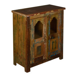 """Two Window Reclaimed Wood Standing Night Stand End Table Cabinet - Now you can display a few things and put away the rest in the Two Window Standing End Table Cabinet. This rustic 27"""" long cabinet fits neatly in corners or smaller spaces. Use it as a night stand or end table."""